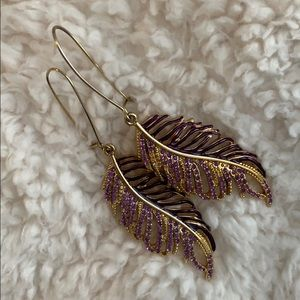 GUESS purple & gold feather earrings